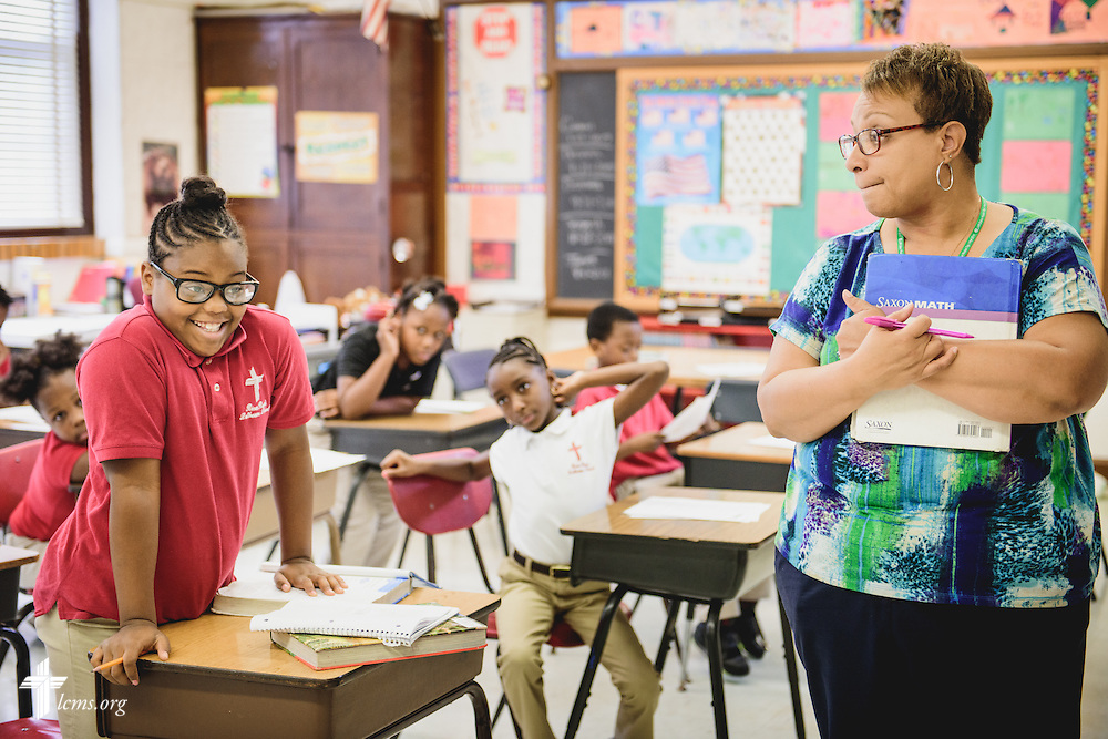 A teacher works with her class at River Roads Lutheran School on Monday, Oct. 3, 2016, in St. Louis. LCMS Communications/Erik M. Lunsford