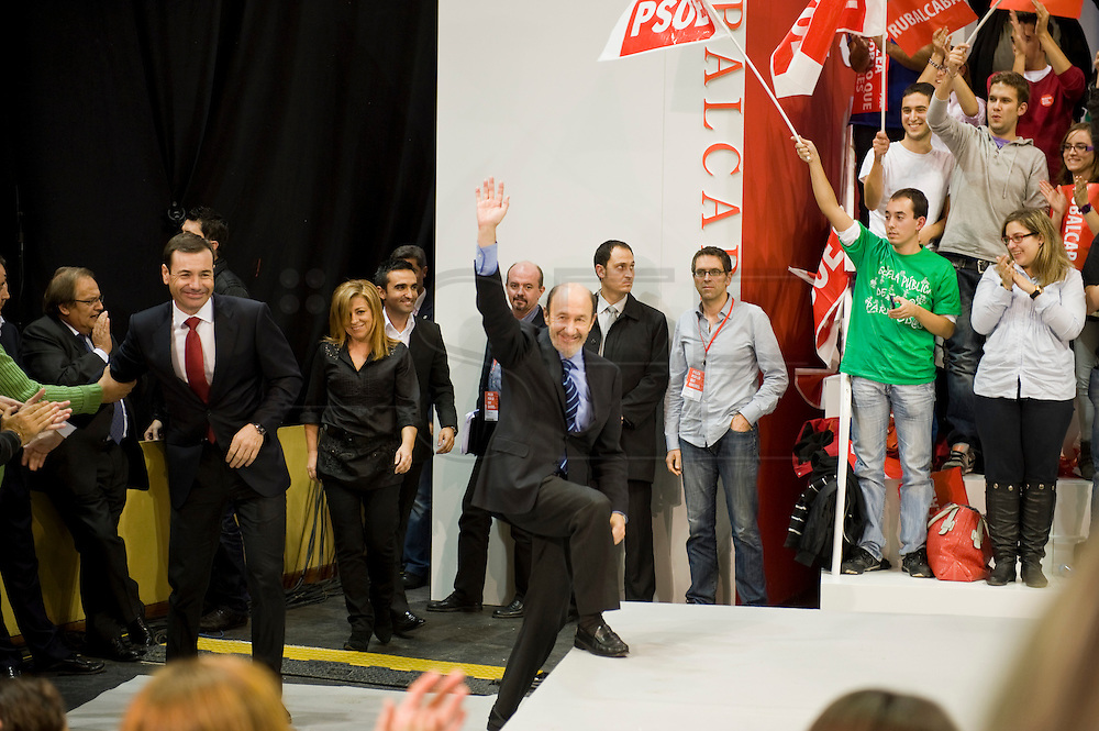 Meting of the opening of the election campaign of the Spanish Socialist Party (PSOE).Alfredo Perez Rubalcaba,Tomas Gomez and Elena Valenciano.