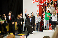 Meting of the opening of the election campaign of the Spanish Socialist Party (PSOE).Alfredo Perez Rubalcaba,Tomas Gomez and Elena Valenciano.