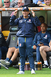 Middlesbrough manager Tony Pulis during the Sky Bet Championship match at Carrow Road, Norwich.