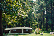 Trailer on the edge of woods in Aiken, South Carolina