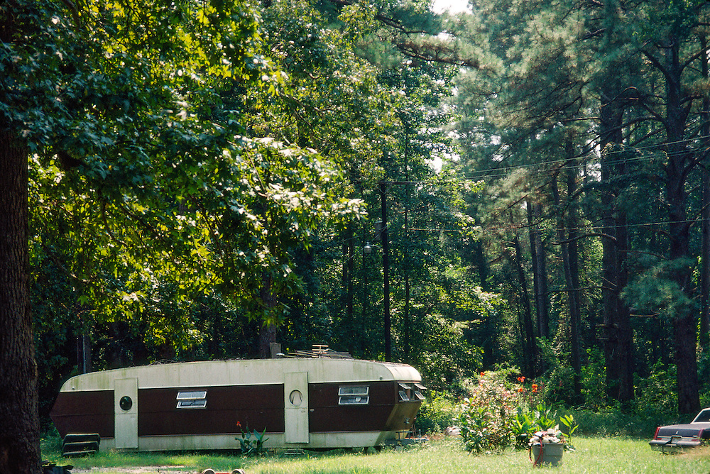 Trailer on the edge of woods in Aiken, South Carolina
