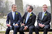 Annapolis, Maryland - April 18, 2015: Best man Jeff Zients, and groomsmen Gary Kosinski, and Ed McNally sit during the wedding ceremony of Stephanie Shearer Cate and Winston Bao Lord. The couple wed at Jeff and Marry Zients' house in Annapolis, Maryland Saturday April 18, 2015. Jeff, President Obama's Economic Advisor, is the only person who can get Winston to work out at 5:30am. The two are best friends.<br /> <br /> <br /> <br /> CREDIT: Matt Roth for The New York Times<br /> Assignment ID: 30173318A