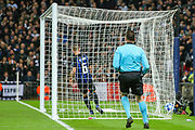 Tottenham Hotspur midfielder Christian Eriksen's (23) (not in the picture) goal hits the back of the net during the Champions League group stage match between Tottenham Hotspur and Inter Milan at Wembley Stadium, London, England on 28 November 2018.