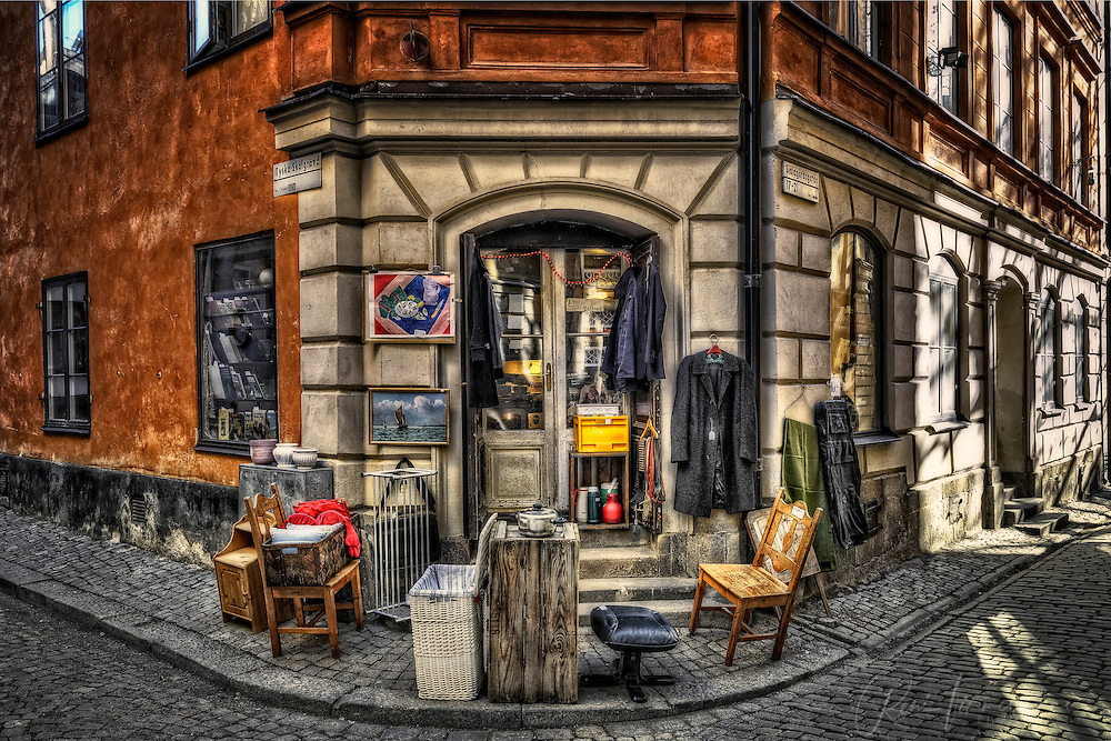 A second-hand shop in Gamla Stan in Stockholm.
