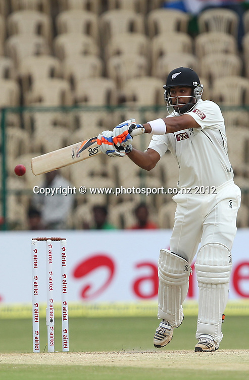 New Zealand cricket tour to India. September 2012<br /> Bengaluru :  NewZealand&rsquo;s Jeetan Patel plays a shot  during the 4th day of the test match against India in Bengaluru on Monday.   Photo: Photosport.co.nz