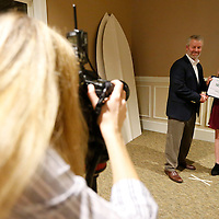Thomas Wells | Buy at PHOTOS.DJOURNAL.COM<br /> Class I swimmer of the year Ginny Clevenger of Itawamba AHS has her photo made with the Northeast Mississippi Daily Journal Publisher Clay Foster after receiving her award at the 2016 High School Fall Sports Banquet on Thursday night.