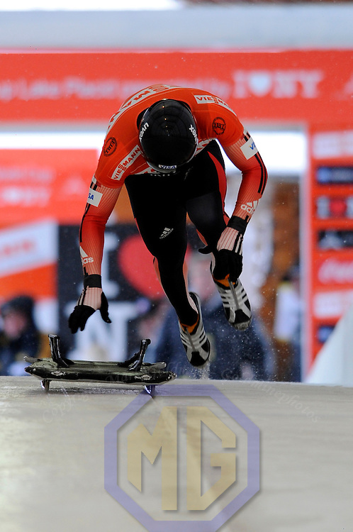 14 December 2007:  Mike Douglas of Canada competes at the FIBT World Cup Men's skeleton competition on December 14, 2007 at the Olympic Sports Complex in Lake Placid, NY.  The race was won by Eric Bernotas of the United States.
