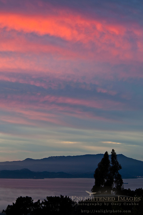Clouds at sunset over Mount Tamalpais and San Francisco Bay, California
