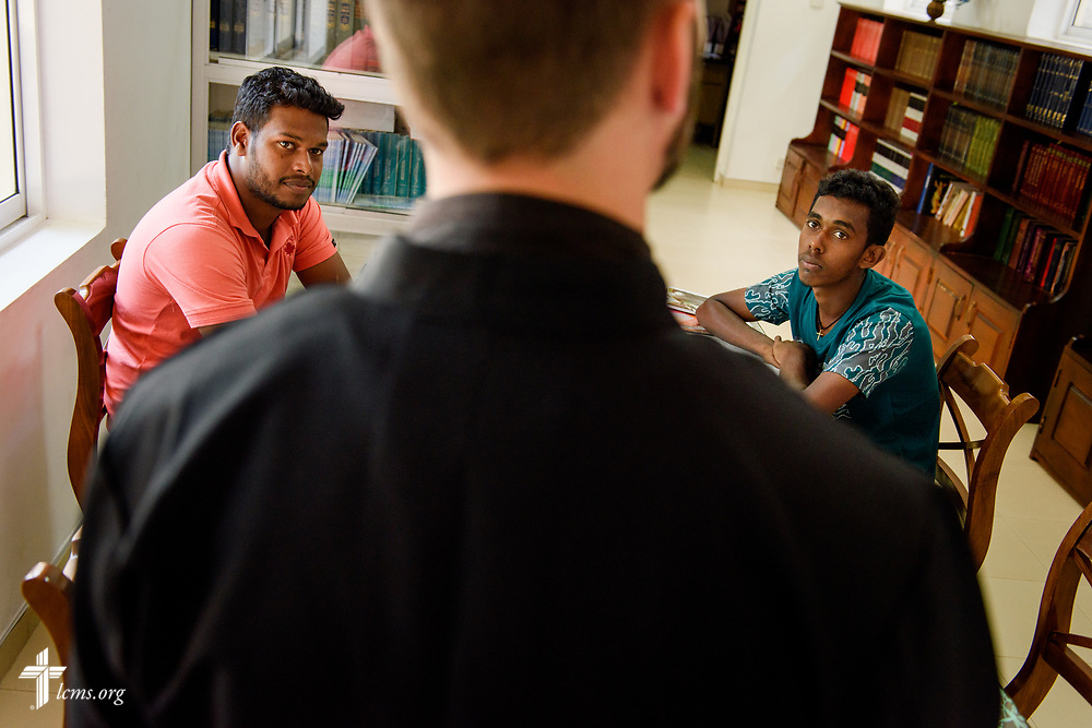 The Rev. Dr. Edward Naumann, LCMS career missionary and theological educator to South Asia, teaches pre-seminary students Danshan and Jeyson at Immanuel Lutheran Church on Monday, Jan. 22, 2018, in Colombo, Sri Lanka. LCMS Communications/ Erik M. Lunsford