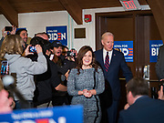 18 JANUARY 2020 - INDIANOLA, IOWA: Congresswoman ABBY FINKENAUER and former Vice President JOE BIDEN walk into a Biden campaign event at Simpson College Saturday. About 250 people came to Simpson College to listen to Vice President talk about his reasons for running for President. Iowa hosts the first event of the presidential election cycle. The Iowa Caucuses are Feb. 3, 2020.        PHOTO BY JACK KURTZ