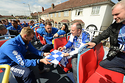 Bristol Rovers' Will Puddy signs an autograph for a fan during the Bristol Rovers - Photo mandatory by-line: Dougie Allward/JMP - Mobile: 07966 386802 - 25/05/2015 - SPORT - Football - Bristol - Bristol Rovers Bus Tour