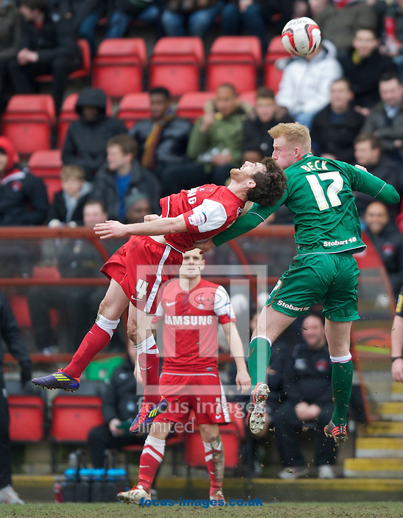 Picture by Alan Stanford/Focus Images Ltd +44 7915 056117.16/03/2013.Romain Vincelot of Leyton Orient and Mark Beck of Carlisle United during the npower League 1 match at the Matchroom Stadium, London..