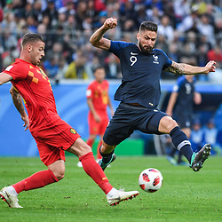 Toby Alderweireld of Belgium and Olivier Giroud of France during the Semi Final FIFA World Cup match between France and Belgium at Krestovsky Stadium on July 10, 2018 in Saint Petersburg, Russia. (Photo by Anthony Dibon/Icon Sport)
