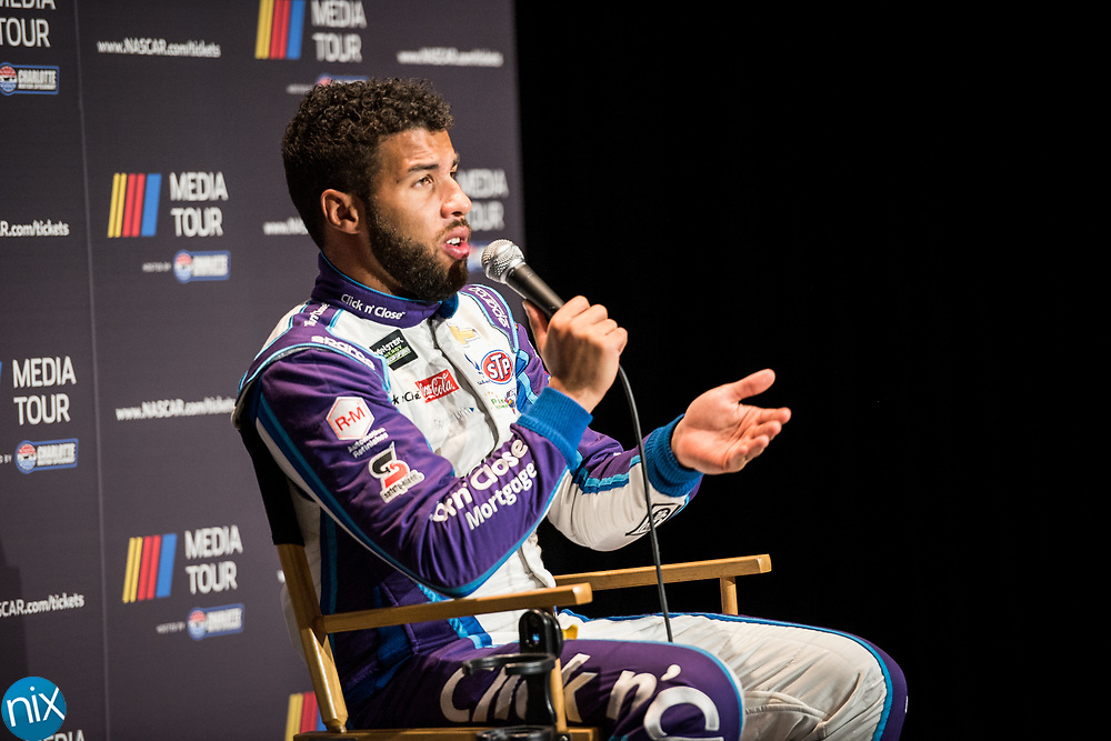 Bubba Wallace speaks to the media during the NASCAR Media Tour hosted by Charlotte Motor Speedway Wednesday, January 24, 2018.