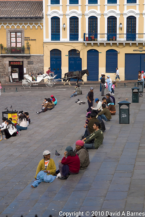Plaza San Francisco, people relaxing, Quito, Ecuador