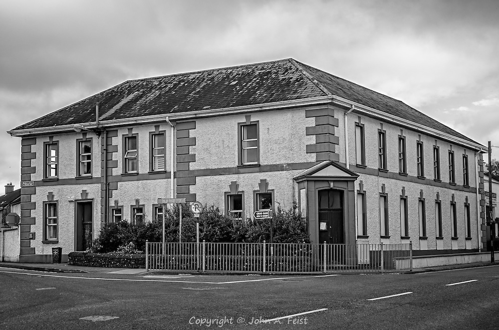 In the heart of CastleIsland, County Kerry, Ireland is this building.  I love the colors.  On the top floor is the town's library which was originally a Carnegie Library.  We have a family member who was the librarian there for many years.  I really like how rendering this image in black and white totally changes it giving it more of an aged and timeless feel.