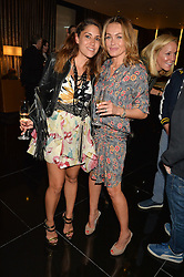 Left to right, LILY HODGES and SAMANTHA SMITH at a party to celebrate Stuart Semple as artist in residence at The Bulgari Hotel held at Il Bar, Bulgari Hotel, 171 Knightsbridge, London on 14th October 2015.