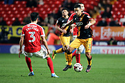 Bradford City defender James Meredith (3) taking on Charlton Athletic defender Adam Chicksen (3) during the EFL Sky Bet League 1 match between Charlton Athletic and Bradford City at The Valley, London, England on 14 March 2017. Photo by Matthew Redman.