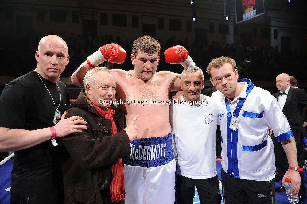 BBBofC Southern Area Heavyweight Title. John McDermott and team celebrates John McDermott's win over Larry Olubamiwo at York Hall, Bethnal Green, London on the 19th February 2011. Frank Warren Promotions. Photo credit © Leigh Dawney.