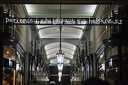 "© Licensed to London News Pictures. 14/01/2016. London, UK. ""I Haven't Changed my Mind in a Thousand Years"" by Beth J Ross in the Piccadilly Arcade. The work forms part of Lumiere London, a major new light festival which commenced today to be held over four evenings and featuring artists who work with light.  The event is produced by Artichoke and supported by the Mayor of London.  Photo credit : Stephen Chung/LNP"