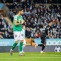 2019-10-06 | Malmö, Sweden: IFK Göteborg (1) Giannis Anestis during the game between Malmö FF and IFK Göteborg at Malmö Stadion ( Photo by: Roger Linde | Swe Press Photo )<br /> <br /> Keywords: Malmö Stadion, Malmö, Soccer, Allsvenskan, Malmö FF, IFK Göteborg, mg191006