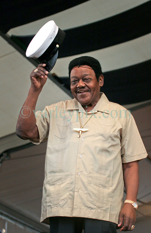 May 7th, 2006. New Orleans, Louisiana. <br /> Jazzfest . The New Orleans Jazz and Heritage festival. Legendary musician Fats Domino makes a brief appearance on the Acura Stage after an earlier hospital visit. Fats was supposed to close out Jazzfest, but was taken ill earlier in the day. He appeared briefly to apologise to the crowd that he would be unable to perform due to his ill health.<br /> Photo © Charlie Varley/varleyix.com