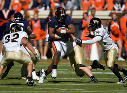 Virginia quarterback Jameel Sewell (10) rushes up field.  The #23 Virginia Cavaliers defeated the #24 Wake Forest Demon Deacons 17-16 at Scott Stadium in Charlottesville, VA on November 3, 2007.