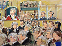 A GV of the court at the Old Bailey, London, 3rd January 2012 as the jury return with a &quot;guilty of murder&quot; verdict in the Stephen Lawrence case.<br /> The accused Gary Dobson and David Norris