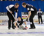 Scotland V Norway Le Gruyere European Curling Championships, links ice arena Aberdeen...Pictures of Euan Byers, David Murdoch and Peter Smith...Pic Ross Johnston / Newsline Scotland