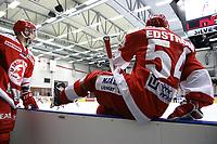 2020-02-12 | Ljungby, Sweden: Troja-Ljungby (54) Alexander Edström during the game between IF Troja / Ljungby and Huddinge IK at Ljungby Arena ( Photo by: Fredrik Sten | Swe Press Photo )<br /> <br /> Keywords: Ljungby, Icehockey, HockeyEttan, Ljungby Arena, IF Troja / Ljungby, Huddinge IK, fsth200212, ATG HockeyEttan, Allettan