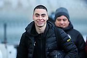 Miguel Almiron (#24) of Newcastle United arrives ahead of the Premier League match between Newcastle United and Chelsea at St. James's Park, Newcastle, England on 18 January 2020.