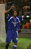 Photo: Lee Earle.<br /> Plymouth Argyle v Cardiff City. Coca Cola Championship. 12/09/2006. Cardiff's Michael Chopra celebrates after scoring their third.