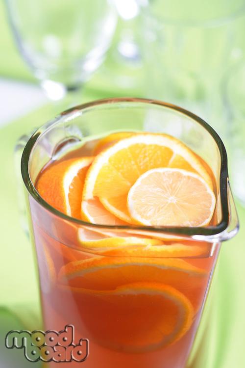 Close up of jug with orange juice