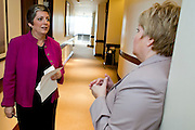 12 JANUARY 2009 -- PHOENIX, AZ: Gov. Janet Napolitano (CQ) talks to Jeanine L'Ecuyer, her spokesperson, before she they walked down to the capitol for the State of State speech. Arizona Governor Janet Napolitano delivered her last State of the State Monday. She has been nominated to be Secretary of Homeland Security by US President-Elect Barack Obama is expected to be approved by the US Senate next week. She is expected to resign as Arizona Governor after she is approved by the Senate.  PHOTO BY JACK KURTZ