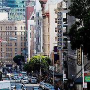 Looking down Geary Street in downtown San Francisco towards its intersection with Market Street.