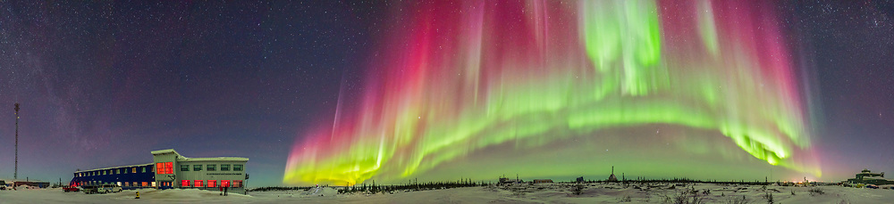A 360&deg; panorama of an arc of auroral curtains to the east, south and west over the old Churchill Rocket Range and the new Churchill Northern Studies Centre, Manitoba. <br /> <br /> This was March 6, 2016 on a night with a Kp  Index of 6 to 7 for auroral activity. This is a stitch of 13 segments, each 3 seconds at f/2 with the Sigma 20mm lens and Nikon D750 at ISO 3200. Stitched in Adobe Camera Raw.