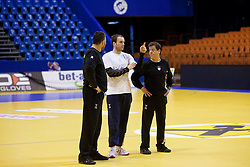 Boris Denic, head coach of Slovenia, Uros Zorman of Slovenia and Bojan Cotar, assistant coach of Slovenia during practice session of Slovenia National Handball team during Main Round of 10th EHF European Handball Championship Serbia 2012, on January 21, 2012 in Spens Sports Center, Novi Sad, Serbia. (Photo By Vid Ponikvar / Sportida.com)