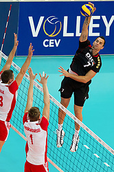 10.09.2011, O2 Arena, Prag, CZE, Europameisterschaft Volleyball Maenner, Vorrunde D, Deutschland (GER) vs Polen (POL), im Bild Michal Kubiak (#13 POL), Piotr Nowakowski (#1 POL) - Georg Grozer (#7 GER / Rzeszow POL) // during the 2011 CEV European Championship, Germany vs Poland at O2 Arena, Prague, 2011-09-10. EXPA Pictures © 2011, PhotoCredit: EXPA/ nph/  Kurth       ****** out of GER / CRO  / BEL ******