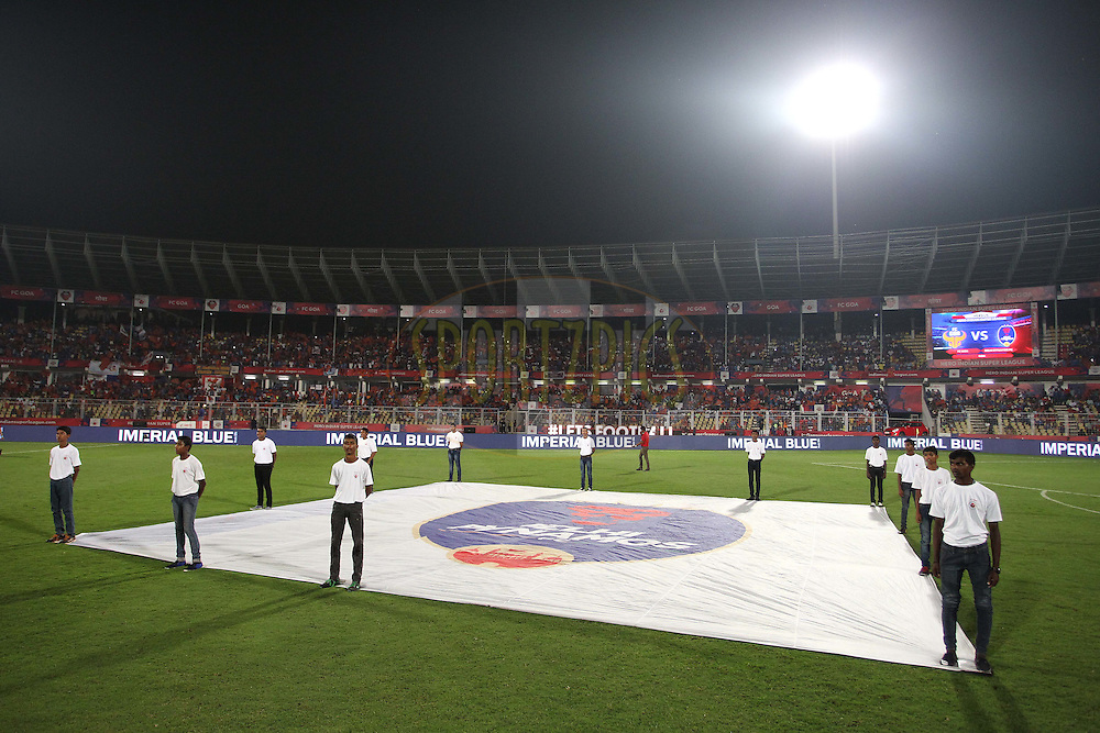 General view during Semi Final 1 (2nd Leg) of the Indian Super League (ISL) season 2 between FC Goa and Delhi Daredevils FC held at the Jawaharlal Nehru Stadium, Fatorda, Goa, India on the 15th December 2015.<br /> <br /> Photo by Shaun Roy / ISL/ SPORTZPICS