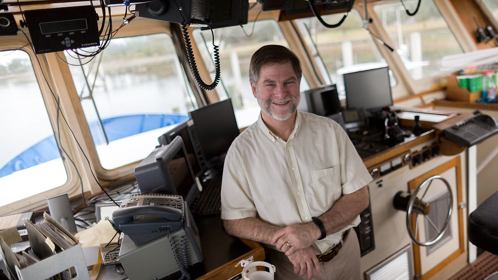 SAVANNAH, GA - FEBRUARY 20, 2018:  Clark Alexander, Director and Professor at the Skidaway Institute of Oceanography, stands on the bridge of the Research Vessel Savannah while it is docked at the institute on Skidaway Island. (WABE Photo/Stephen B. Morton)