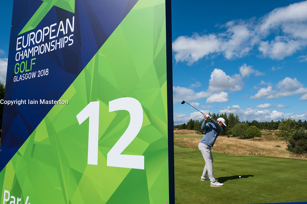 Gleneagles, Scotland, UK; 9 August, 2018.  Day two of European Championships 2018 competition at Gleneagles. Men's and Women's Team Championships Round Robin Group Stage - 2nd Round. Four Ball Match Play format. Liam Johnstone of GB on the 12 th tee.