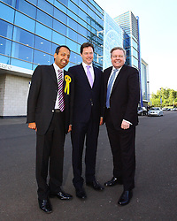 © licensed to London News Pictures. Leicester,The Walkers Stadium, UK  04/05/11. Deputy Prime Minister and Leader of the Liberal Democrats, Nick Clegg is visiting Leicester South to take part in a Q&A hosted by Leicestershire Chamber of Commerce alongside Liberal Democrat by-election candidate Zuffar Haq (on left).  Photo credit should read Michael Zemanek/LNP