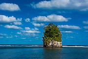 Single rock at coconut point in Tutuila island, American Samoa, South Pacific