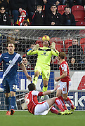 Rotherham United defender (on loan to Brighton last season) Greg Halford goes for the overhead kick but goe high  during the Sky Bet Championship match between Rotherham United and Birmingham City at the New York Stadium, Rotherham, England on 13 February 2016. Photo by Ian Lyall.
