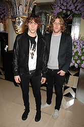 Left to right, Musicians JOHNNY BORRELL and ANDY BURROWS from Razorlight at the 10th Anniversary Party of the Lavender Trust, Breast Cancer charity held at Claridge's, Brook Street, London on 1st May 2008.<br />
