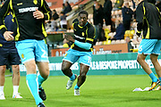 Burton Albion's Marvin Sordell warms up during the EFL Sky Bet Championship match between Norwich City and Burton Albion at Carrow Road, Norwich, England on 12 September 2017. Photo by John Potts.