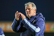 AFC Wimbledon manager Glyn Hodges clapping after the match during the EFL Sky Bet League 1 match between AFC Wimbledon and Peterborough United at the Cherry Red Records Stadium, Kingston, England on 18 January 2020.