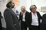 Keith Tyson, Georgina Cohen and her father Frank Cohen, The Professional View and Private View of Frieze Art Fair. London. 11 october 2006. -DO NOT ARCHIVE-© Copyright Photograph by Dafydd Jones 66 Stockwell Park Rd. London SW9 0DA Tel 020 7733 0108 www.dafjones.com