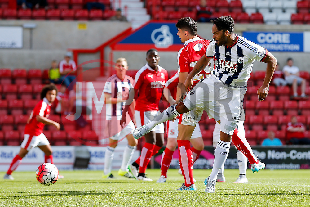 Joleon Lescott of West Brom shoots - Mandatory byline: Rogan Thomson/JMP - 07966 386802 - 25/07/2015 - SPORT - Football - Swindon, England - The County Ground - Swindon Town v West Bromwich Albion - 2015/16 Pre Season Friendly.